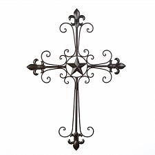 Buy 14576U - Fleur De Lis Star Wrought Iron Cross Wall Plaque