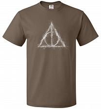 Buy Deathly Hollows Unisex T-Shirt Pop Culture Graphic Tee (2XL/Chocolate) Humor Funny Ne