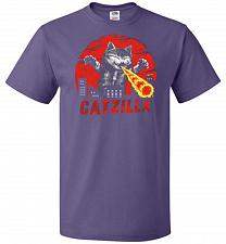 Buy Catzilla Unisex T-Shirt Pop Culture Graphic Tee (2XL/Purple) Humor Funny Nerdy Geeky