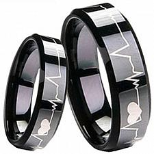 Buy coi Jewelry Black Tungsten Carbide HeartBeat Band Ring