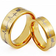 Buy coi Jewelry Tungsten Carbide HeartBeat Wedding Band Ring