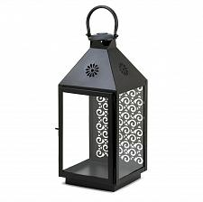 Buy *15817U - Large Sprightly Black Iron Candle Holder Lantern Intricate Back Panel