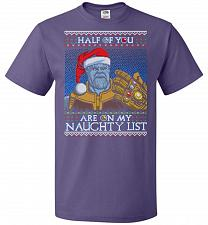 Buy Half Of You Are On My Naughty List Unisex T-Shirt Pop Culture Graphic Tee (2XL/Purple