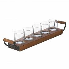 Buy *17043U - Wooden Tray Votive Candleholder w/5 Clear Glass Cups