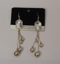 Buy Women Drop Bead Earrings Rhinestones Drop Dangle Silver Tones Hook Fasteners