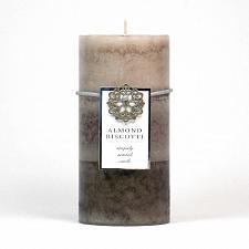 Buy :10661U - Almond Biscotti Scented Tan Tri-color Paraffin Wax 3x6 Pillar Candle