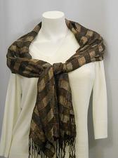 Buy Scarf Stole Shawl Wrap Womens 70X21 CEJON Brown Plaid Print Metallic Fringed