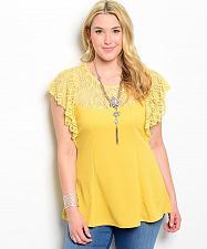 Buy Women Top Size 3X Mustard Yellow Lace Batwing Sleeves Scoop Neck Lace Yoke
