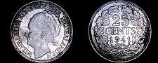 Buy 1941 Netherlands 25 Cent World Silver Coin - Wilhelmina I