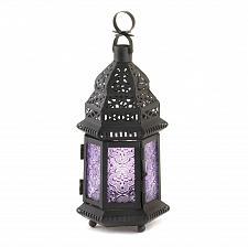 Buy *16122U - Purple Pressed Glass Moroccan Style Candle Lantern