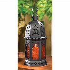 Buy 33145U - Moroccan Style Metal Tea Light Candle Lantern Amber Pressed Glass