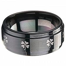 Buy coi Jewelry Black Tungsten Carbide Clover Wedding Band Ring