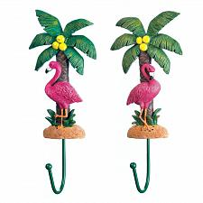 Buy *18152U - Pink Flamingo Palm Trees Wall Hook Set