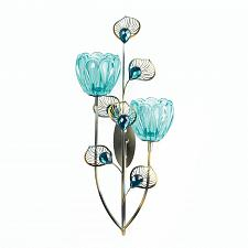 Buy *18049U - Peacock Blossom Double Turquiose Swirl Cup Wall Sconce