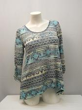 Buy Knit Top Womens SIZE S ABSOLUTELY FAMOUS Tribal Print Crocheted Lace Back Scoop