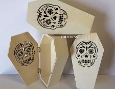 "Buy Lot of (3) 4"" x 7"" UNFINISHED wood COFFINS ~LASER CUT Day of Dead Sugar Skull"