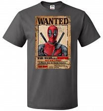 Buy Deadpool Wanted Poster Youth Unisex T-Shirt Pop Culture Graphic Tee (Youth M/Charcoal