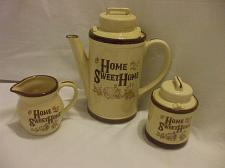 Buy 5 pcs Coffee/Tea Set With Lids Sugar Bowl And Creamer Beige And Brown Porcelain