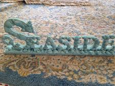 """Buy turquoise wooden """"seaside"""" sign art free standing beach decor 18"""""""