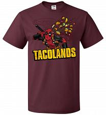 Buy Tacolands Unisex T-Shirt Pop Culture Graphic Tee (2XL/Maroon) Humor Funny Nerdy Geeky