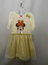 Buy DISNEY Girls Dress Size 5T Egg Shell Gold Polka Dot Chiffon Skirt Scoop Neck
