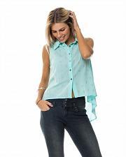 Buy Sheer Button Shirt Mint Cross Print SIZE L Women Sleeveless Collared Neck Hi-Lo