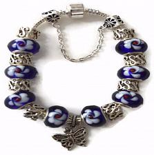Buy Butterfly European Silver Charm Bracelet With Blue Murano Beads