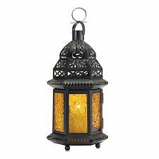 Buy 37437U - Moroccan Style Metal Tea Light Candle Lantern Yellow Pressed Glass