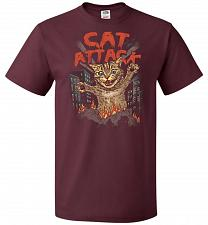 Buy Cat Attack Unisex T-Shirt Pop Culture Graphic Tee (5XL/Maroon) Humor Funny Nerdy Geek