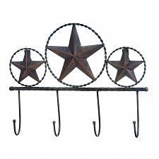 Buy *18403U - Texas Stars 4 Hooks Rustic Iron Wall Plaque