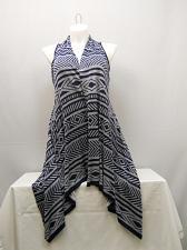 Buy Vest Wrap Scarf Womens SIZE XL COMO VINTAGE Navy Geometric Asymmetrical Hem