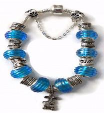 Buy Rabbit European Silver Charm Bracelet With Blue Murano Beads