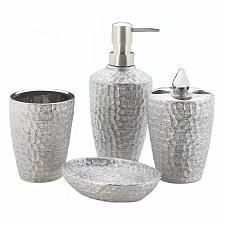 Buy *18258U - Silver Hammered Texture 4pc Porcelain Bathroom Accessory Set