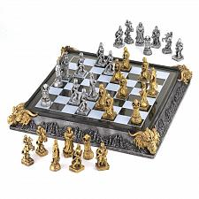 "Buy 35301U - Medieval Knights Castles Dragon 17"" Polyresin/Wood Board Chess Set"