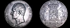 Buy 1850 Belgian 5 Franc World Silver Coin - Without Dot - Belgium - Leopold I