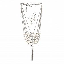 "Buy *16105U - Vintage Crystal Tassel 16"" Necklace & Hookback Earrings Jewelry Set"