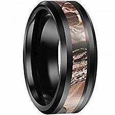 Buy coi Jewelry Black Titanium Camo Ring - JT2700(Size:US7/7.5/10)