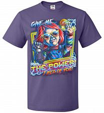 Buy Give Me The Power Chucky Adult Unisex T-Shirt Pop Culture Graphic Tee (L/Purple) Humo