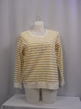 Buy STYLE&CO Womens Sweat Shirt PLUS SIZE 0X Jeweled White Gold Striped Long Sleeve