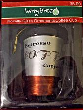 Buy Merry Brite Expresso Coffee Cappuccino Cup Glass Ornament 4 inches tall NIP