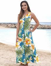 Buy Ladies Long Maxi Rayon Dress Plumeria Beauty in Jade #PF-190-PB sz L