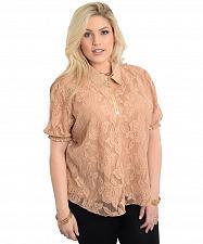 Buy Women Sheer Lace Top PLUS SIZE 1X Beige Jeweled Collar Zipper Neck Short Sleeves
