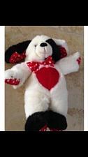 "Buy 12"" puppy dog red white black & full of love stuffed animal"