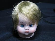 Buy Vintage Bisque Porcelain Doll Head Glass Eyes Hair 3 inches tall Flange NOS