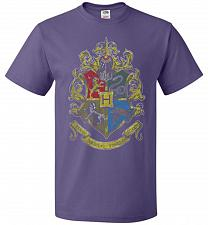 Buy Hogwart's Crest Adult Unisex T-Shirt Pop Culture Graphic Tee (L/Purple) Humor Funny N