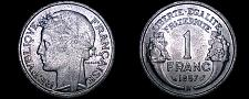 Buy 1957-B French 1 Franc World Coin - France