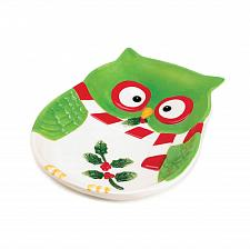 "Buy *16065U - Holiday Hoot Owl 8"" Colorful Green Ceramic Serving Plate"