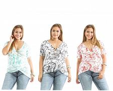 Buy ROMAN Women Knit Top Blouse Plus Size Geometric Surplice Short Sleeve Stretch