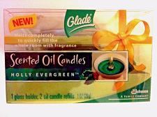 Buy GLADE Scented Oil Candles HOLLY EVERGREEN 1 Glass Holder + 2 Candle Refills