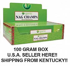 Buy USA (Kentucky) SELLER HERE - NANDITA ORGANIC NAG CHAMPA INCENSE 100 GRAM BOX